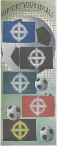 Εμπόριο φασιστικού οπαδισμού. Η Χρυσή Αυγή, δια του επισήμου εμπόρου της, του Ηλία Παναγιώταρου, πουλάει σημαίες με τον κέλτικο σταυρό στα χρώματα όλων των ομάδων