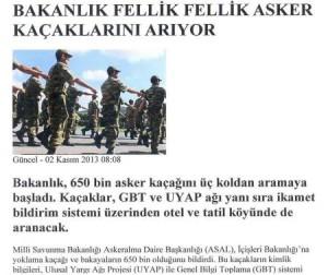 650000 νέοι άνθρωποι δε θέλουν να υπηρετήσουν στην Τουρκία.