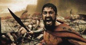 """A wounded Leonidas (GERARD BUTLER) roars his defiance at the Persian invaders in Warner Bros. Pictures', Legendary Pictures' and Virtual Studios' action drama """"300,"""" distributed by Warner Bros. Pictures. PHOTOGRAPHS TO BE USED SOLELY FOR ADVERTISING, PROMOTION, PUBLICITY OR REVIEWS OF THIS SPECIFIC MOTION PICTURE AND TO REMAIN THE PROPERTY OF THE STUDIO. NOT FOR SALE OR REDISTRIBUTION"""